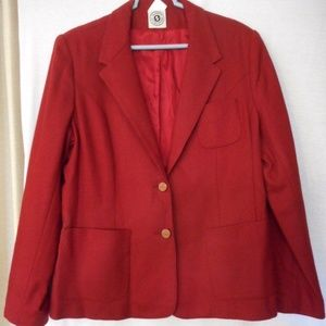 Vintage Women's Size 16 Brick Red wool Blazer